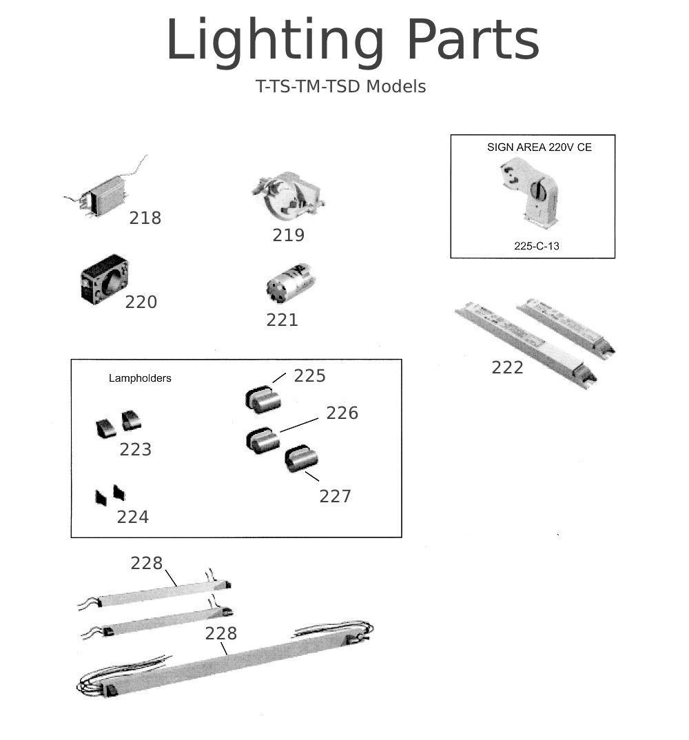 T-TS-TM-TSD Lighting Parts